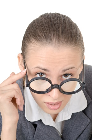 manager girl is engaged clowning in sham spectacles Stock Photo - 11180902
