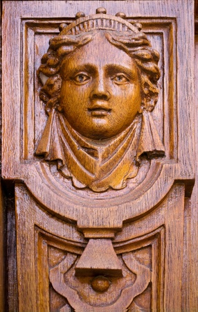 caryatids: wooden architectural detail, a person Caryatids Stock Photo