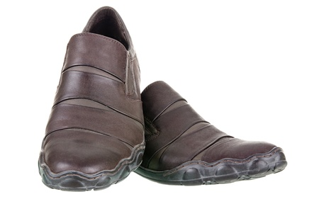 Mens walking shoes with clipping path on a white background photo