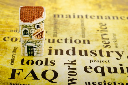 layout of an apartment house is on the background of words related to the construction Stock Photo - 11181056