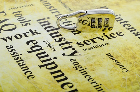 digital lock on the artistic background of the relevant words Stock Photo - 11181062
