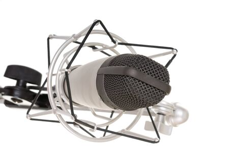 vintage microphone on a white background photo
