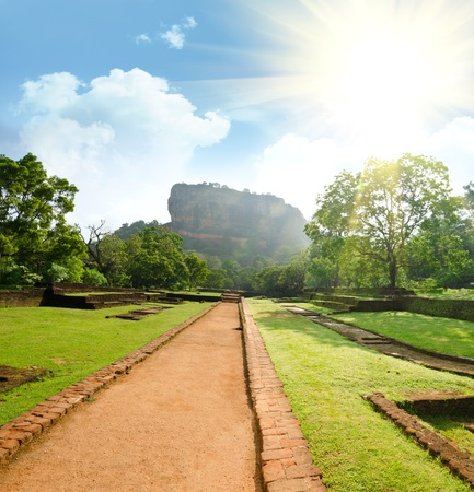 Sigiriya ( Lion's rock ) is a large stone and ancient palace ruin in the central  Sri Lanka Stock Photo - 11904765
