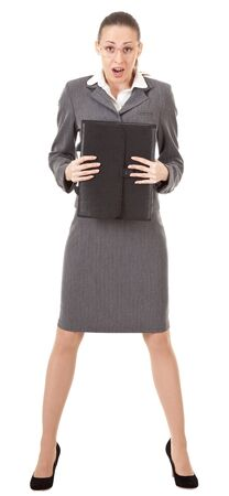 skirt suit: office manager, a girl in business attire Stock Photo