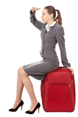 waiting posture: office manager, a girl in business attire Stock Photo