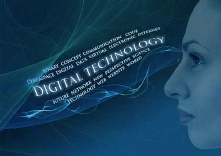facial profile of young woman close up on   Digital Technology   background Stock Photo - 12565532