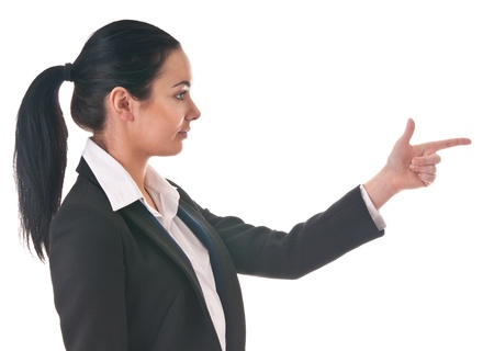 Girl in office clothes with  direction of finger Stock Photo - 12565741