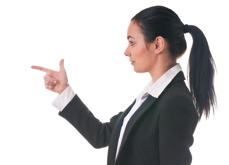 Girl in office clothes with  direction of finger Stock Photo - 12565737