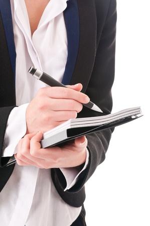 노트북과 펜 관리자의 손