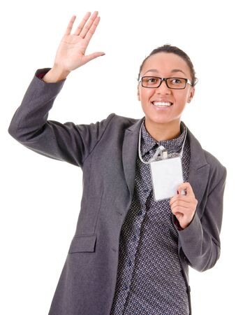 Portrait of a young business woman waving hand on a white background Stock Photo - 12565613