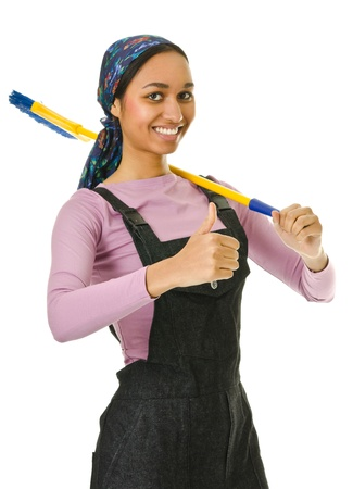 swarthy: mixed race girl  in the working clothes on white background