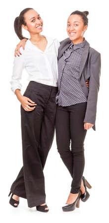 portrait of two dark-skinned women on white background Stock Photo - 12565638