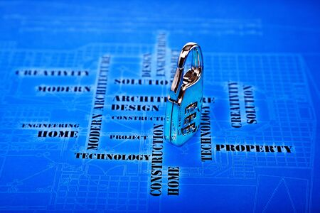 digital lock on the futuristic engineering background Stock Photo - 12565563
