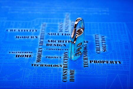 lock  futuristic: serratura digitale sullo sfondo di ingegneria futuristica Archivio Fotografico