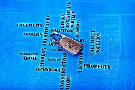 lock  futuristic: blocco digitale, sullo sfondo di ingegneria futuristica