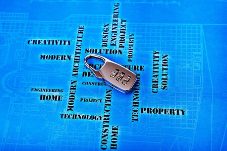 digital lock on the futuristic engineering background Stock Photo - 12565544