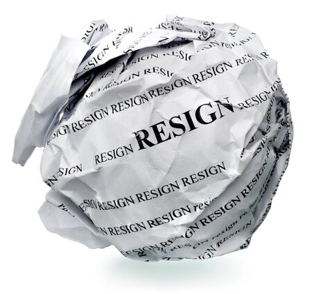 kink: paper ball with text  resign  and clipping path on a white background Stock Photo