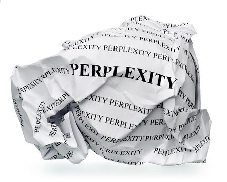 perplexity: paper ball with text  perplexity  and clipping path on a white background