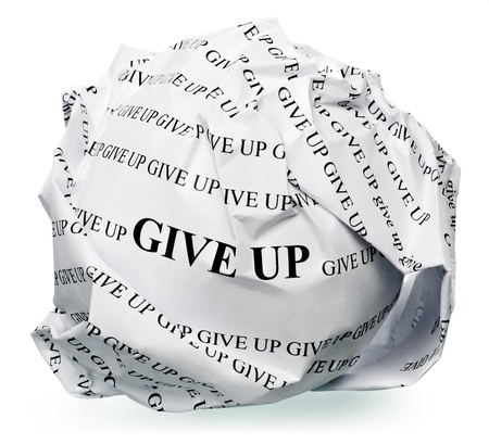 paper ball with text  give up  and clipping path on a white background