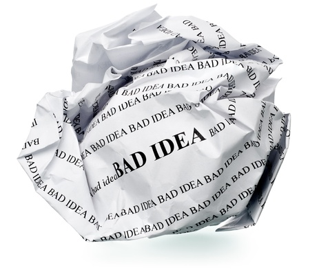 bad: paper ball with text  bad idea  and clipping path on a white background