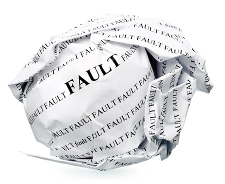 paper ball with text  fault  and clipping path on a white background