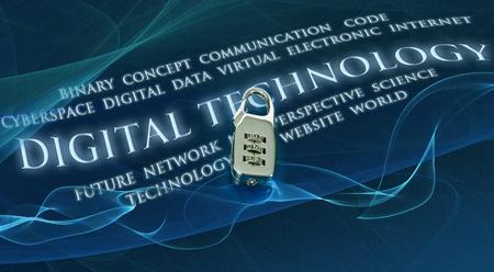 lock  futuristic: luminoso serratura digitale sullo sfondo futuristico con la tecnologia digitale, le parole Archivio Fotografico