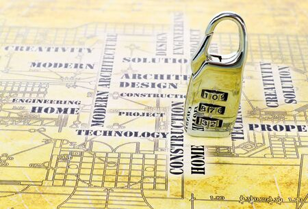 digital lock on the art architectural background Stock Photo - 12565582