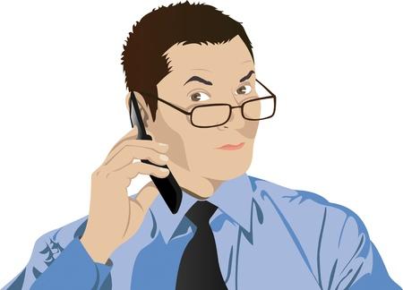 man on cell phone: Retrato de hombre con gafas con un tel�fono celular