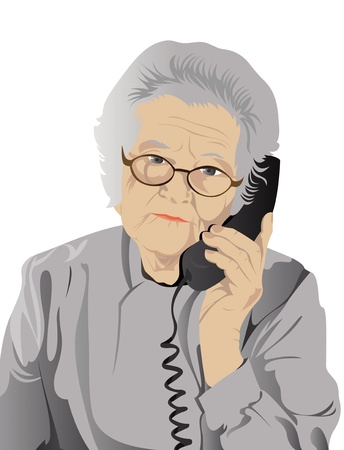 portrait of elderly woman is in red with an dark blue telephone