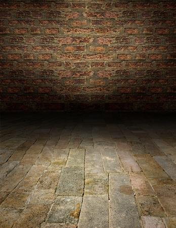 Artistic interiors - a scene with a stone floor photo