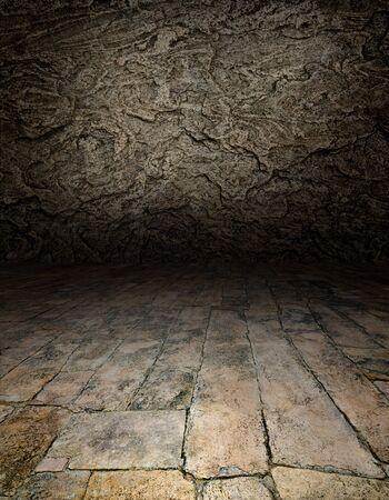 Künstlerische Innenräumen - eine Szene mit einem Steinboden
