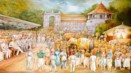 TEMPLE OF SACRED TOOTH RELIC IN KANDY, SRI LANKA, DECEMBER 8  religious painting in the great hall  KANDY, SRI LANKA, DECEMBER 8, 2011
