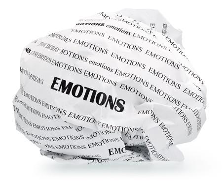 las emociones: bola de papel arrugado con el texto conceptual. Aislado, la ampliaci�n de la zona de enfoque logra escogiendo un par de fotos