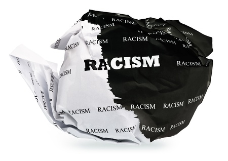 ball of crumpled paper with conceptual text. Isolated, expanding the zone of focus achieved by picking out a few photos