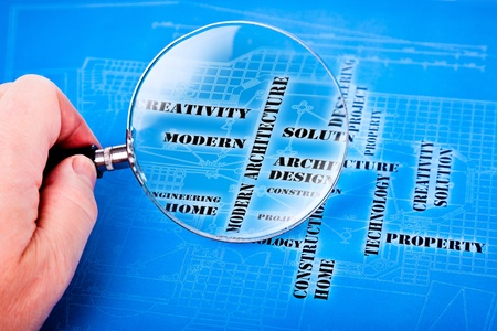 human hand with a magnifying glass on the art architectural background Stock Photo - 13251301