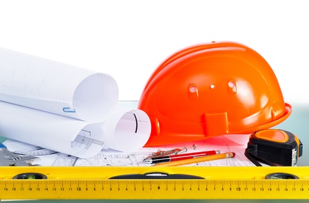 rebuild: Architectural drawings and tools. engineering concept. Stock Photo
