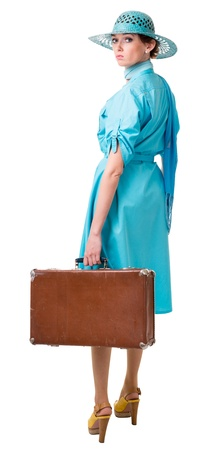 traveling woman in retro clothing. Isolation on white background Stock Photo - 14113034