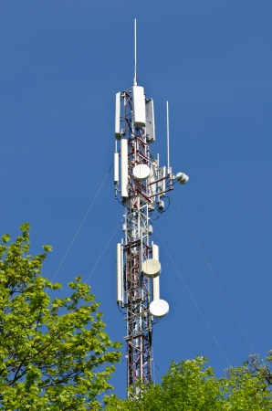 Modern antenna equipment for mobile communications in the sky photo