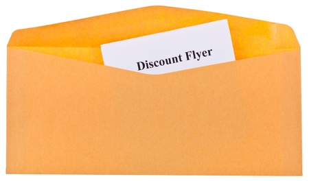 discount coupon: open envelope with looking out the corner of the letter