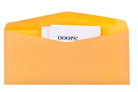 gift accident: open envelope with looking out the corner of the letter