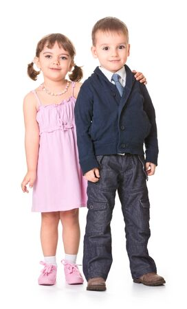 children play a married couple on a white background photo