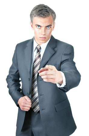 volition: man in office clothes on a white background