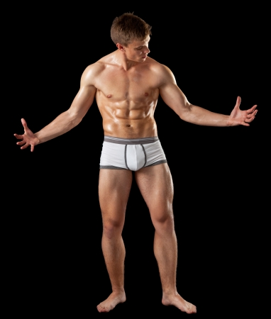 반 벗은 몸과 근육 질의 젊은 남자의 초상화