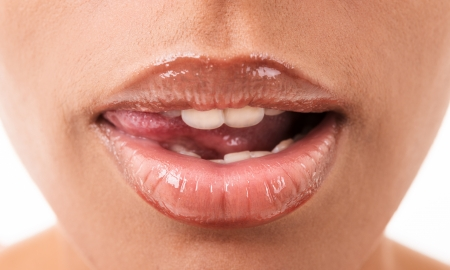 mouth tanned young women in Eastern appearance Stock Photo - 16300432