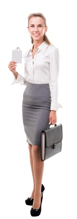 secretary skirt: young woman in office attire. The figure is isolated on a white background with the clipping path
