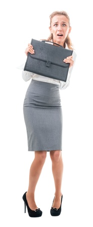 gasping: young woman in office attire. The figure is isolated on a white background with the clipping path