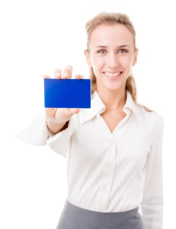 purchasing manager: young woman in office attire. The figure is isolated on a white background with the clipping path