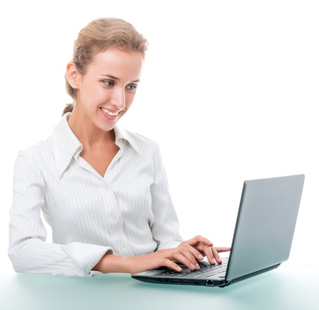 young woman in office attire. The figure is isolated on a white background with the clipping path photo