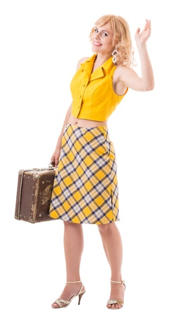 footsie: young woman in a yellow retro costume. Isolated with clipping path