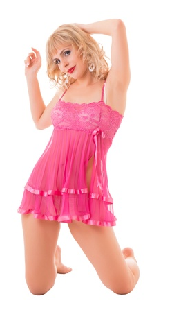 portrait of a young woman in pink underwear. Isolated with clipping path photo